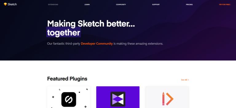 A screenshot of the Sketch plugin page